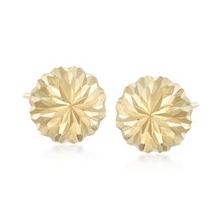 14kt Yellow Gold Diamond-Cut Dome Earrings , , default