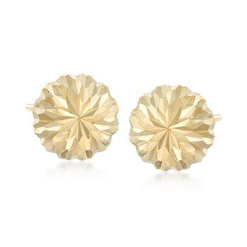 14kt Yellow Gold Diamond-Cut Dome Earrings , , default