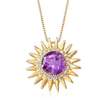2.50 Carat Amethyst and .10 ct. t.w. Diamond Sun Pendant Necklace in 18kt Gold Over Sterling, , default