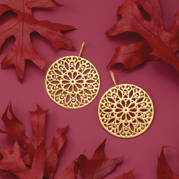 Italian Andiamo 14kt Yellow Gold Floral Disc Drop Earrings