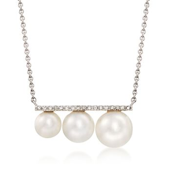 """5.5-7.5mm Cultured Pearl Bar Necklace With Diamond Accents in 14kt White Gold. 16"""", , default"""