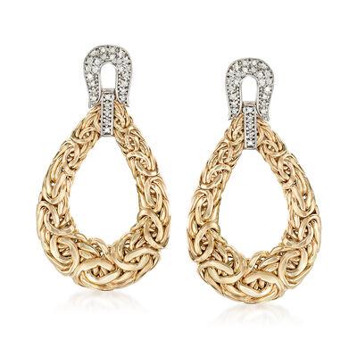 .36 ct. t.w. Diamond Byzantine Open Teardrop Earrings in 14kt Yellow Gold, , default
