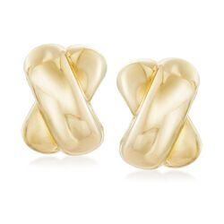 Italian 18kt Yellow Gold Crisscross Earrings, , default