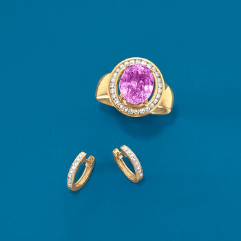5.00 Carat Kunzite and .48 ct. t.w. Diamond Ring in 14kt Yellow Gold, , default