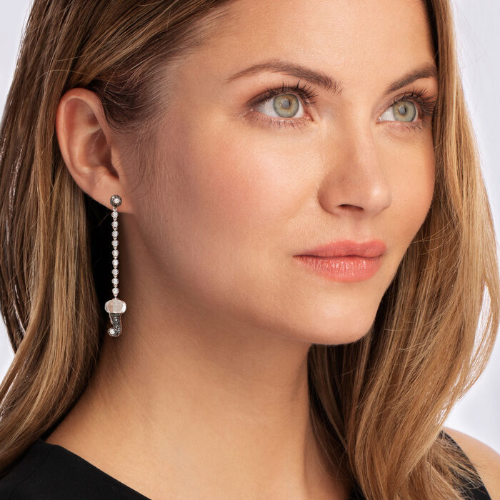 C. 2000 Vintage Chantecler 1.33 ct. t.w. Black and White Diamond Drop Earrings with 9.5mm Carved Crystal in 18kt White Gold