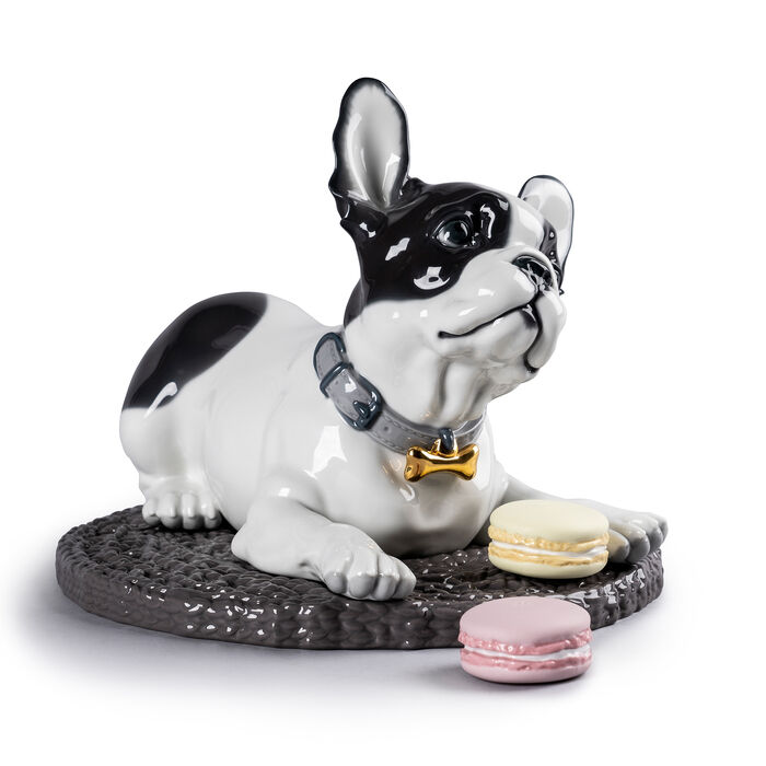 "Lladro ""French Bulldog with Macarons"" Porcelain Figurine"