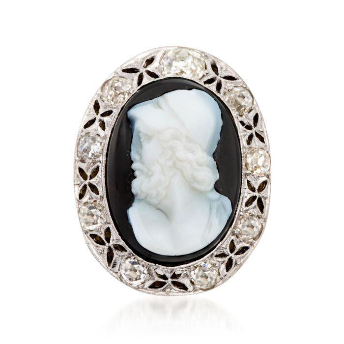 C. 1960 Vintage Agate Roman Warrior Cameo with 1.90 ct. t.w. Diamonds in Platinum and 14kt Yellow Gold. Size 8.5