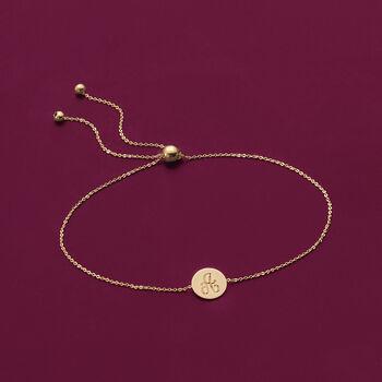 14kt Yellow Gold Single Initial Circle Disc Bolo Bracelet, , default