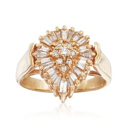 C. 1980 Vintage .50 ct. t.w. Diamond Pear-Shaped Cluster Ring in 14kt Yellow Gold. Size 5.5, , default