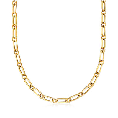 Italian 18kt Gold Over Sterling Paper Clip Link Necklace