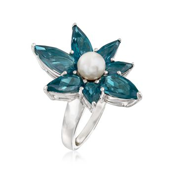 6mm Cultured Pearl and 7.10 ct. t.w. Blue Topaz Abstract Flower Ring in Sterling, , default