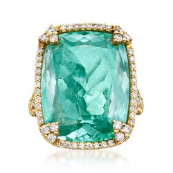 """Judith Ripka """"Monaco"""" 25.00 Carat Blue Synthetic Spinel and .74 ct. t.w. Diamond Ring in 18kt Yellow Gold. Size 6, , default"""