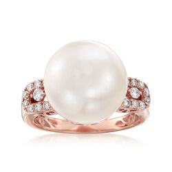 13.5mm Cultured Pearl and .36 ct. t.w. Diamond Ring in 14kt Rose Gold, , default