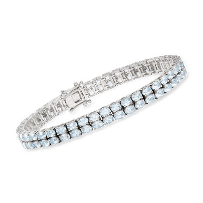13.00 ct. t.w. Aquamarine Two-Row Tennis Bracelet in Sterling Silver, , default