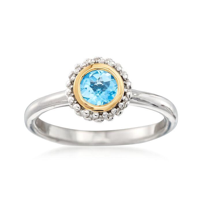 """Phillip Gavriel """"Popcorn"""" .49 Carat Blue Topaz Ring in Sterling Silver and 18kt Gold, , default"""