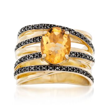 Black Spinel and 2.10 Carat Citrine Ring in 14kt Yellow Gold Over Sterling Silver, , default
