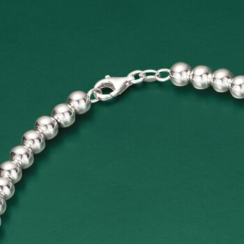 Italian 6-14mm Sterling Silver Graduated Bead Necklace, , default