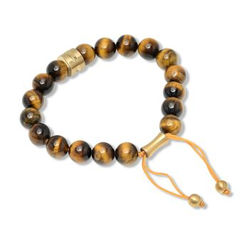 Men's Tiger's Eye Bead Bolo Bracelet with Yellow Stainless Steel, , default