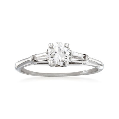 C. 1980 Vintage .78 ct. t.w. Round and Baguette Diamond Ring in 18kt Yellow Gold, , default