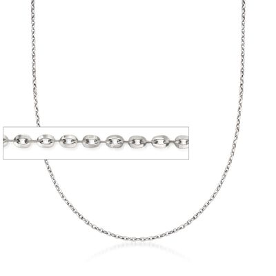 Italian .8mm 14kt White Gold Adjustable Slider Cable Chain Necklace, , default