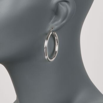 """4mm Sterling Silver Hoop Earrings. 1 5/8"""""""
