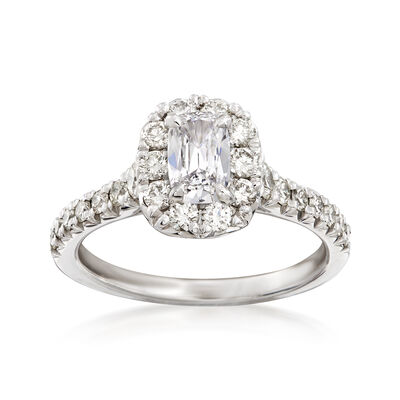 Henri Daussi 1.00 ct. t.w. Diamond Halo Engagement Ring in 18kt White Gold, , default