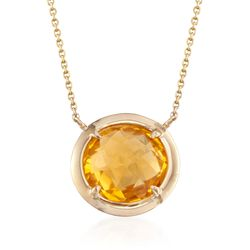 "5.50 Carat Citrine Necklace in 14kt Yellow Gold. 16"", , default"