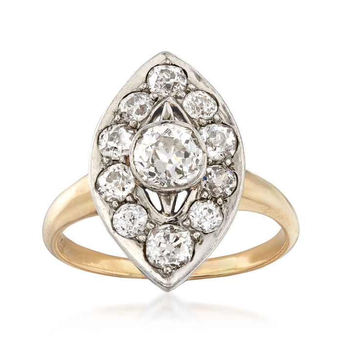 C. 1960 Vintage 1.45 ct. t.w. Diamond Navette Ring in 14kt Yellow Gold. Size 6, , default