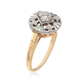 C. 1950 Vintage .20 ct. t.w. Diamond Floral Ring in 14kt Two-Tone Gold. Size 6, , default
