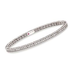 "Roberto Coin .61 ct. t.w. Diamond ""Symphony"" Princess Bangle Bracelet in 18kt White Gold. 7"", , default"