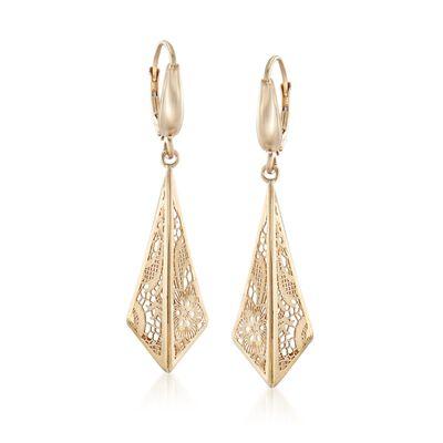 Italian 14kt Yellow Gold Filigree Triangle Drop Earrings, , default