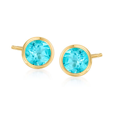 1.10 ct. t.w. Apatite Stud Earrings in 14kt Yellow Gold