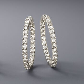10.00 ct. t.w. Diamond Inside-Outside Hoop Earrings in 14kt White Gold. 1 1/2""