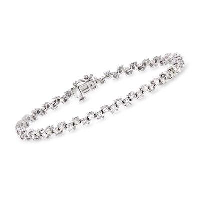 3.00 ct. t.w. Alternating Diamond Bracelet in 14kt White Gold
