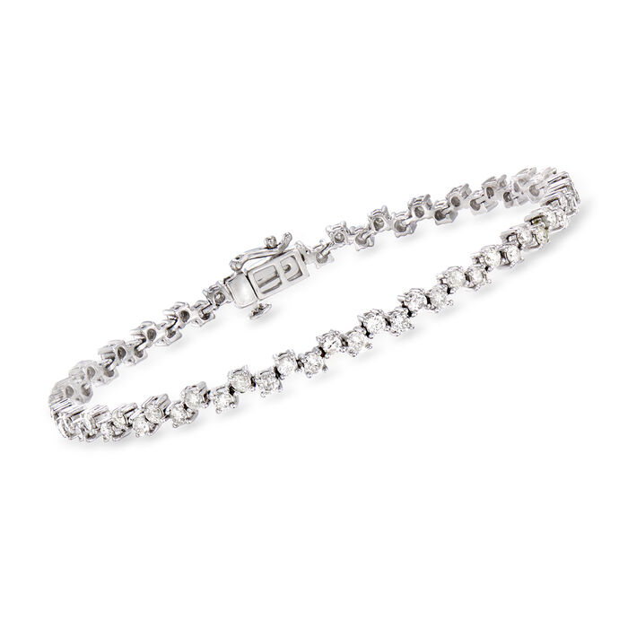 3.00 ct. t.w. Alternating Diamond Bracelet in 14kt White Gold