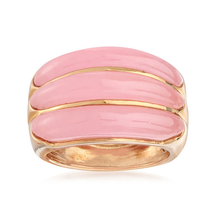 C. 1990 Vintage Pink Jade Ring in 14kt Yellow Gold. Size 6, , default