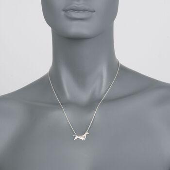 "Sterling Silver Dachshund Dog Name Necklace. 18.75"", , default"