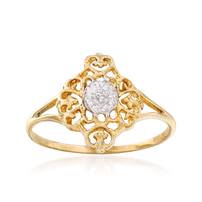 C. 1980 Vintage 10kt Two-Tone Gold Filigree Ring with Diamond Accent. Size 7.75, , default