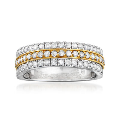 1.00 ct. t.w. Diamond Multi-Row Ring in Sterling Silver and 14kt Yellow Gold