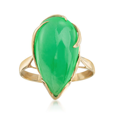 Pear-Shaped Green Jadeite Jade Cabochon Ring in 14kt Yellow Gold, , default