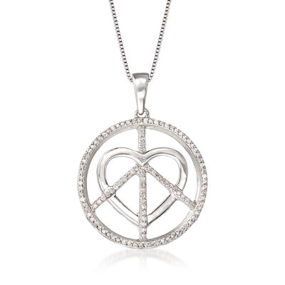 .33 ct. t.w. Diamond Peace and Love Pendant Necklace in Sterling Silver, , default