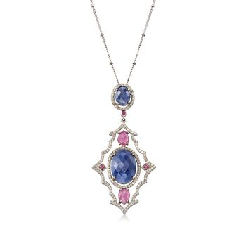 """21.80 ct. t.w. Blue and Pink Sapphire and 1.45 ct. t.w. Diamond Drop Necklace in Sterling Silver. 18"""", , default"""