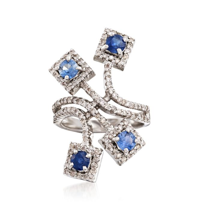 C. 2000 Vintage 1.40 ct. t.w. Sapphire and 1.00 ct. t.w. Diamond Spray Ring in 18kt White Gold. Size 6