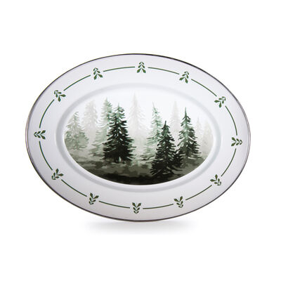 "Golden Rabbit ""Forest Tree"" Oval Platter, , default"