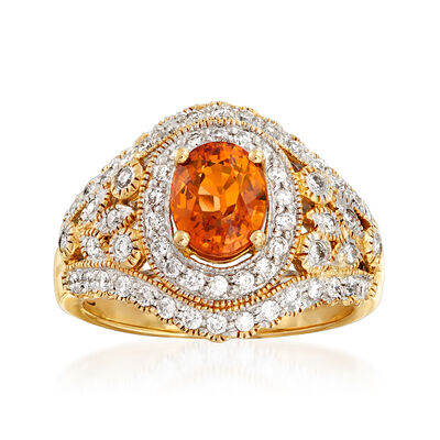 C. 1990 Vintage 1.95 Carat Spessartine Garnet and .75 ct. t.w. Diamond Ring in 14kt Yellow Gold, , default