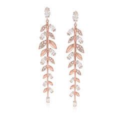 "Swarovski Crystal ""Mayfly"" Fern Drop Earrings in Rose Gold-Plated Metal, , default"