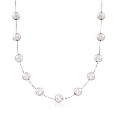 8mm Sterling Silver Bead Station Necklace, , default