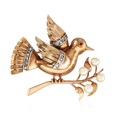 C. 1950 Vintage 4mm Cultured Pearl Bird on Branch Pin with Ruby and Diamond Accents in 18kt Yellow Gold, , default