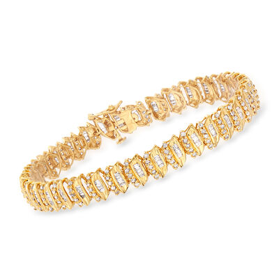 3.00 ct. t.w. Baguette and Round Diamond Bracelet in 18kt Gold Over Sterling, , default