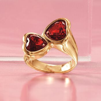 5.90 ct. t.w. Garnet Heart Bypass Ring in 14kt Yellow Gold, , default